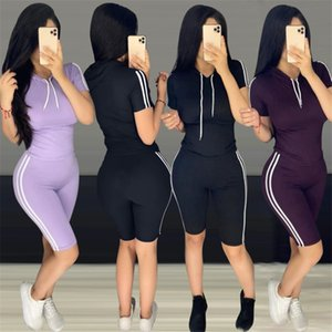 Women Summer Tracksuits Designer High Waist Striped 2pcs Running Suits Pullover Hooded Tops Shorts Clothing Sets