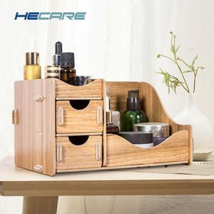 Hécate madeira maquiagem caixa de armazenamento de cosméticos ecologicamente placa de madeira Organizador Little Home Office Desktop Drawer Organizer Nova