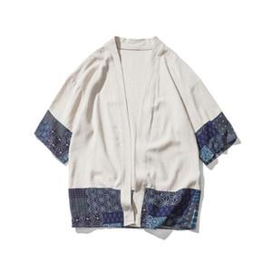 Coton Chemise en lin Vestes hommes chinois Streetwear Kimono Shirt Manteau Hommes Lin Cardigan Vestes Manteau Taille Plus 5XL