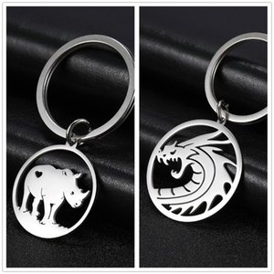 SKYRIM Chinese Rhinoceros Round Car Keychain Animal Stainless Steel Key Chains Key-ring Holder Pendant For To Bag Unisex