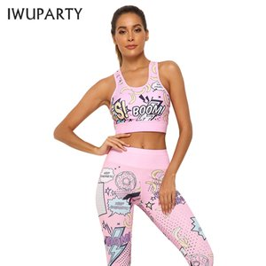 IWUPARTY 2 Piece Cute Pink Printing Yoga Set Women Workout Gym Outfit Sets Sport Fitness Crop Top Leggings Running Ladies Suit T200530