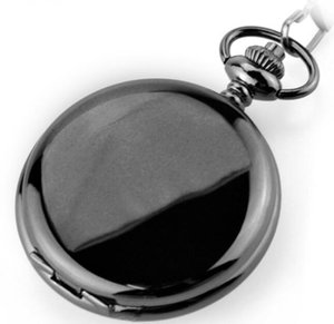 Hot Sell Black Polished Mechanical Pendant Pocket Watch Retro Skeleton Roman Dial Steampunk Open Face Gift Pocket Watch