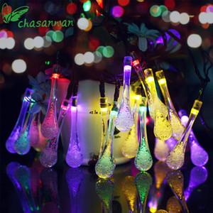 Luces solares de Chasanwan 4 .8 M 20 Led luz de tira de las gotitas de agua Adornos navideños Adornos de Año Nuevo Luces al aire libre.