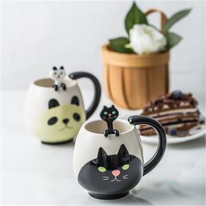 Sevimli Hayvan Çay Bardaklar Seramik Bardak Ve Kupalar Kahve Kupa Karikatür Kedi Domuz Ayı Kurbağa Panda Drinkware Dropshipping