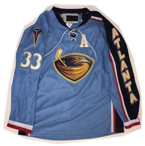 Jersey de encargo 5XL 6XL Vintage Atlanta Thrashers # 33 Dustin Byfuglien Hockey Jersey bordado cosido Personalizar cualquier número y el nombre de New