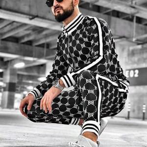 Yeni Erkekler Rasgele Fermuar Seti Sonbahar Erkek Eşofman Erkek Kazak Sweatpants çok cepli Moda High Street ceketler Setleri set