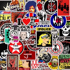 50pcs Retro rock grubu müzik Sticker DIY Su geçirmez Sticker Bagaj Cep Telefonu Bilgisayar Kaykay Gitar Buzdolabı