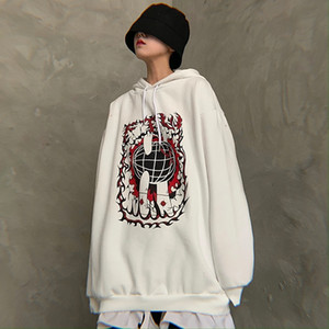 new fashion brand print hoodies women Harajuku style Korean clothes hooded pullovers oversize bf Hipster Unisex Sweatshirts