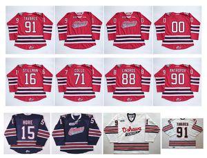 OHL Oshawa Generals Jersey 91 John Tavares 2 Bobby Orr 15 Matt Hore 88 Eric Lindros 4 Michael Del Zotto Rosso Blu Bianco Hockey maglie