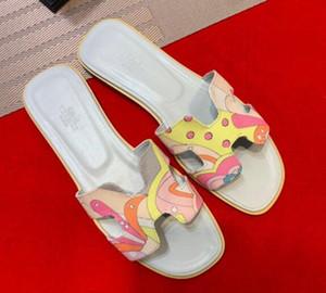 Klassisch Frauen Pantoffel Luxus-Leder-Ebene-Schuhe High-End Slip-on-Flip-Flop-Schuh-Frauen H Designers Open Toe Hausschuhe mit Kasten