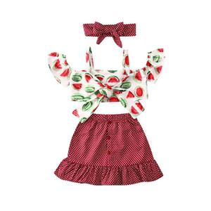 Crianças Meninas saia Suit Criança Melancia Sólidos Sling Tops Meninas Dot Ruffle Botão Saias leopardo Outfits roupa do bebê Infant 060422