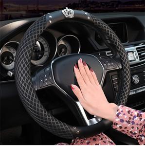 Alta qualidade 38CM verão roda tampa da roda de coroa de direcção do carro de gelo respirável seda direção tecido cubos preto