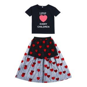 SAGACE enfants Sets tout-petits enfants vêtements x27s filles de vêtements pour enfants de vêtements nouvelle Lettre Coeur Hauts + Tenues Robe Jly8 CY200515