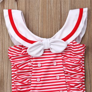 2019 Infant bikinis swimsuit Red striped Hot summer Costume Tankinis rompers Newborn Baby Girl Lovely Beachwear Cap Holiday pool