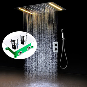 360x500 mm ceiling rainfall shower head set thermostatic diverter valve hand shower bathroom modern bath products