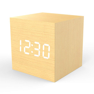 Digital Alarm Clock 4 Levels LED Light with Big Time Date and Temperature Display 100% MOSO Bamboo Frame