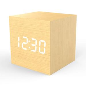 Reloj despertador digital de 4 niveles de luz LED con fecha grande y visualización de temperatura 100% marco de bambú MOSO