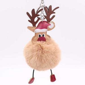 Santa Claus bola de pelo colgante llavero de Navidad bola de pelo de alce, el anillo de llave de juguetes de decoración de Navidad de los niños