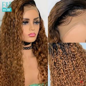 T1B / 27 Ombre Honey Blonde завитые парики человеческих волос Бразильское Remy 13x6 фронта шнурка человеческих волос Парики для женщин 360 парик шнурка Лобовой