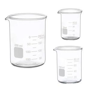 Hot sale Glass Measuring Low Form Beaker Set 50ml 100ml 250ml Glass Graduated Beaker Set