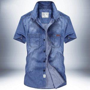 Mens Denim shirt Plus Size XXXL 4XL camisas de denim Homens Sólidos manga curta Jeans camisa casual camisas soltas Verão
