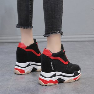 Hot Sale-Lace Up Women Casual Shoes Height Increasing Platform Flats Women Shoes 2018 Fashion Sneakers Female Wedges Black Shoe