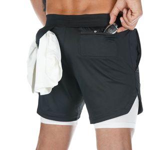 2020 estate di arrivo a due piani Mens Shorts fitness Bodybuilding traspirante secchezza rapido Breve Palestre Uomo Pantaloni Casual knee-lunghezza Pants