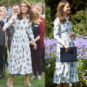 Кейт Миддлтон взлетно посадочная полоса высокое качество весна осень Новая Женская мода Party Work Vintage элегантный шикарный цветочный принт шифоновое платье