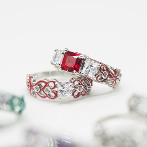 Atacado-de Luxo Mulheres Zircon Praça Diamante Liga epóxi anel banhado prata Hot Sale Set casal ring