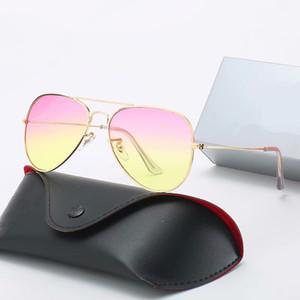 Lente polarizada de alta calidad Piloto de moda de moda Gafas de sol para hombres Mujeres Diseño Vintage Gafas de sol Océano Lente con caja