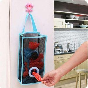 Tipo colgante cocina rejilla de malla transpirable bolsas de basura bolsa de almacenamiento conveniente Extractor de la bolsa de la cocina Rangement
