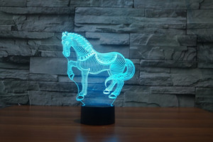 7 Colors Change Desk table Lamp horse household gift light Birthday present touch stereo night light personality
