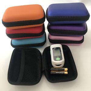 Colorful Finger Oximeter Hard EV Portable Case Protecive Zipper Pouch Travel Bag Carry Box for Fingertip Pulse Oximeter Earphone Cable Plug
