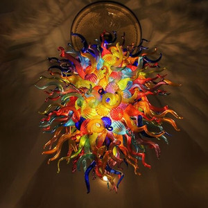Multi colore a mano soffiato di Murano Glass Chandelier Luxury colorata a soffitto LED decorativo illumina E14 Moderna Art Glass Lighting Lampadario