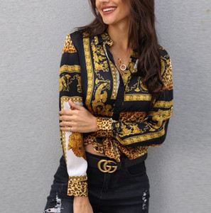 costura Venta caliente de las mujeres remata novedosa manera impresos de manga larga camisa atractiva personalidad blusa de envío