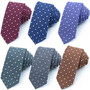 Mens Cotton Dots for Men Fashion Neck Classic Man Slim Necktie Gift Wedding Business Suit Designer Handmade Neck Tie Set Ties Formal Tie