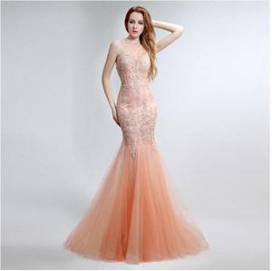 Bordados Lace Mermaid Tulle Zipper Prom Vestidos até o chão de Sarahbridal Mulheres frisada Pérolas Sexy Evening Partido Vestidos LX153
