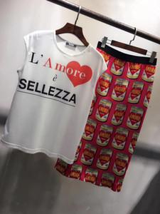 Milan Pist 2019 Beyaz T Shirt Ve Erik Etek Setleri Tasarımcı Mektup Baskı 2 Parça Setleri Womens yy882