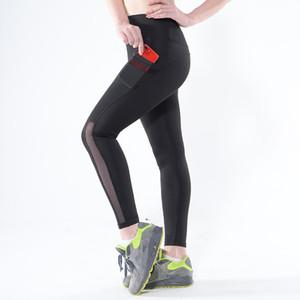 Rooftrellen Katı Siyah Kadın Tayt Cepler Ile Seksi Gotik Örgü Pantolon Sporting Koşu Uzun Pantolon Mujer Spor Tayt