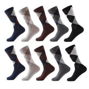 Chaussettes en coton peigné pour hommes Crew Business Socks Chaussettes à carreaux de couleur unie classiques Calcetines De Hombre Drop Shipping