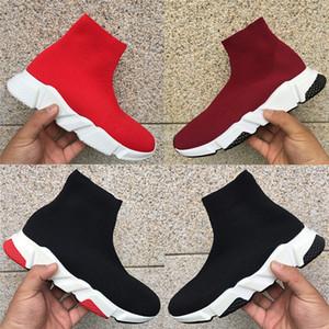 Pas cher Paris vitesse formateur chaussures mode casual des femmes des hommes mi stretch amoureux Knit Triple Noir Blanc parti Sock baskets hommes