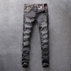 SHABIQI Мода Streetwear Мужчины Джинсы ретро Wash Разрушенное рваные джинсы Краска Designer Hip Hop Брюки Slim Fit Printed Мужчины