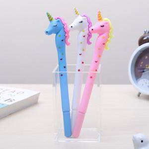 12pcs كوري لطيف الملون هلام وحيد القرن Pen Kawaii Anime Stationary Thing School Office Supply Material Kawai Stationery Goods