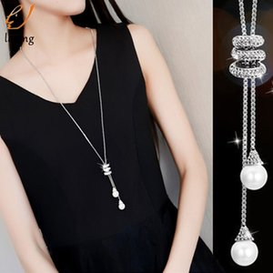 Simple Spiral Chain with Peal pendant Necklace Women Long Sweater Chain Statement Jewelry choker Necklace for Women Chocker