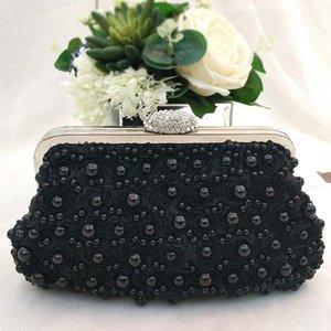 Flor de encaje de mujer de gran capacidad con cuentas Artificial Pearl Fashion Luxury Wedding Evening Party Handbag Clutch Bag Lady Elegant