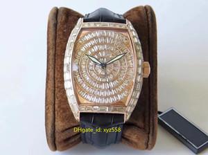 새로운 반짝이 럭셔리 다이아몬드 남성 시계 안정적인 2824 자동 운동 손목 시계 가죽 스트랩 최고 품질 남성 스위스 시계