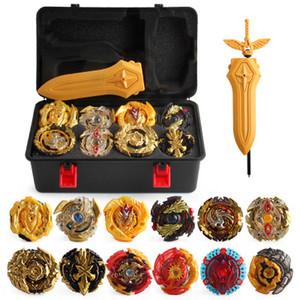 Edición del oro de 17pieces Beyblade Burst Bey Blade Gold Edition Gyro Caja de almacenamiento 12 Gyro Gyro ajustada la ráfaga bayblde Espuma de presión Para niños de juguete
