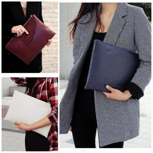 Moda Kadınlar Zip Depolama Kılıfı Sahte Deri Timsah Tasarım Saf Renk Açık Zarf Çanta Saklama Kılıfı Yüksek Kaliteli 11cw E1