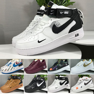 Nike air force 1 one سريع الشحن الساخن بيع 2018 خط النمط ذبابة جديد عاشق منخفضة الرجال المرأة السامية سكيت أحذية 1 احدة متماسكة يورو حجم 40-45 شبكة RT-2C