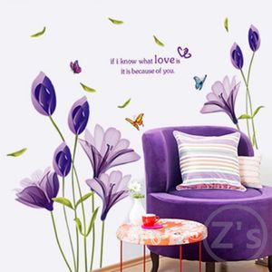 Wall Home Decor DIY Фиолетовый цветок лилии Плакаты Гостиная декоративные настенные наклейки Съемные водонепроницаемый наклейки LS
